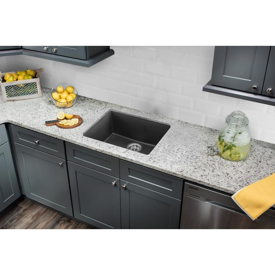 Superior Sinks 21.65-in x 16.92-in Onyx Black Single-Basin-Basin Granite Drop-in (Customizable)-Hole Residential Kitchen Sink