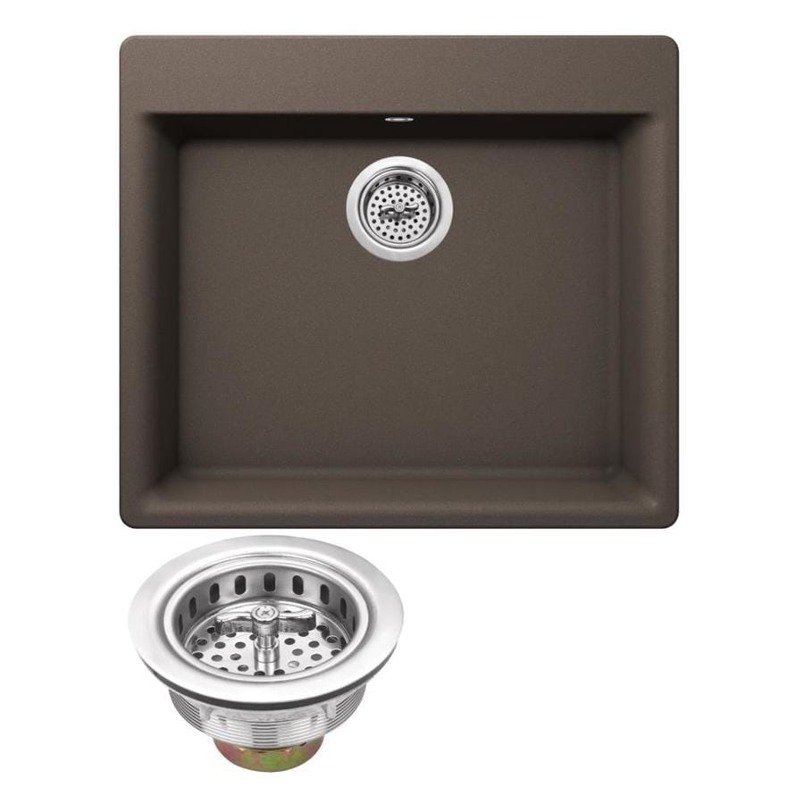 Superior Sinks 23.62-in x 20.86-in Mocha Brown Single-Basin Granite Drop-In 4-Hole Residential Kitchen Sink