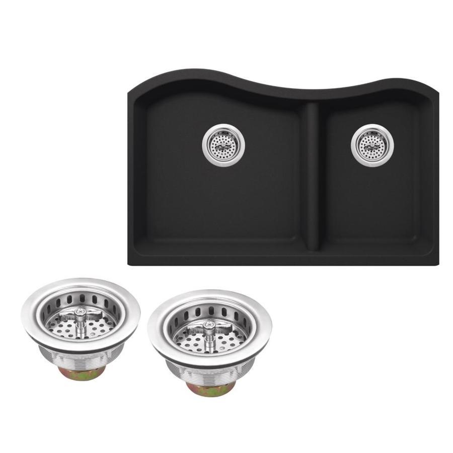 Superior Sinks 32.5-in x 20-in Onyx Black Double-Basin Granite Undermount Residential Kitchen Sink