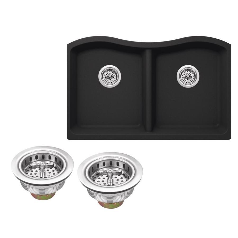Superior Sinks 32.5-in x 20.0-in Onyx Black Double-Basin Granite Undermount Residential Kitchen Sink