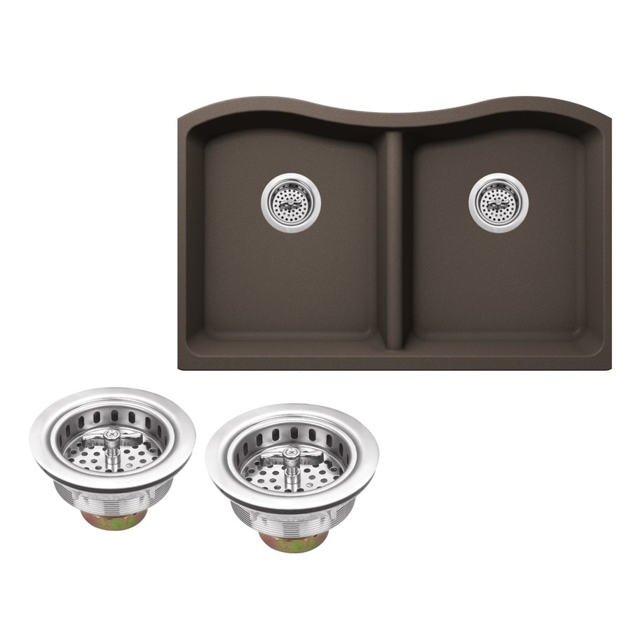 Superior Sinks 32.5-in x 20.0-in Mocha Brown Double-Basin Granite Undermount Residential Kitchen Sink