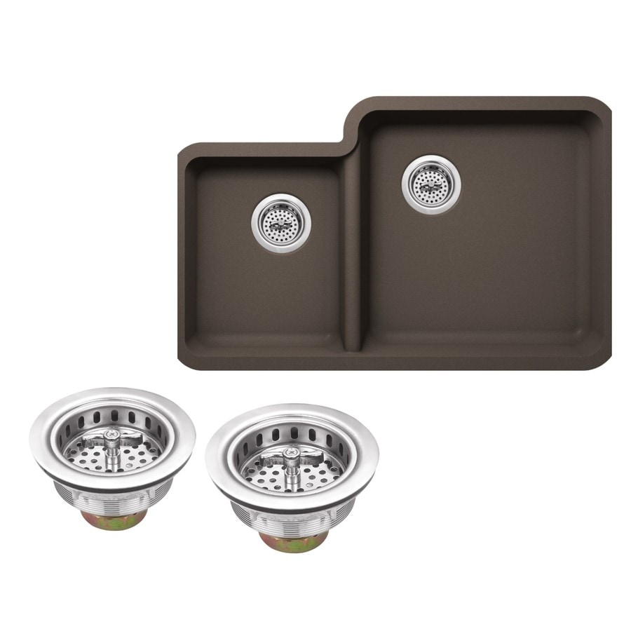 Superior Sinks 33-in x 20.76-in Mocha Brown Double-Basin Granite Undermount Residential Kitchen Sink