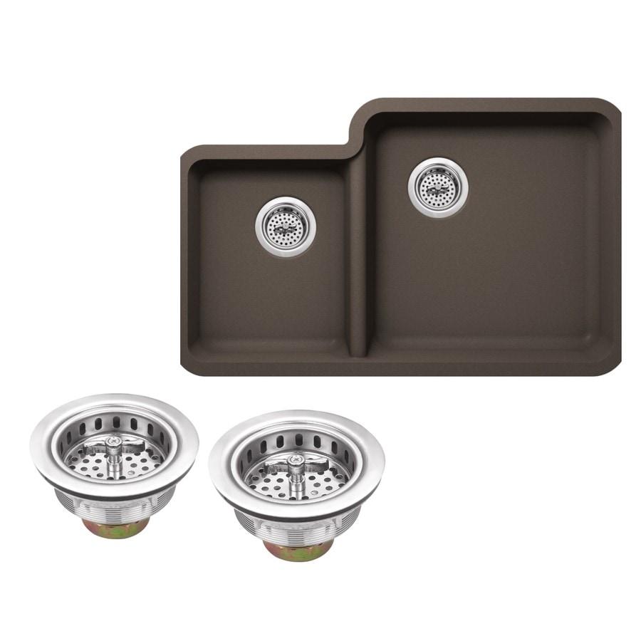 Superior Sinks 33.0-in x 20.76-in Mocha Brown Double-Basin Granite Undermount Residential Kitchen Sink