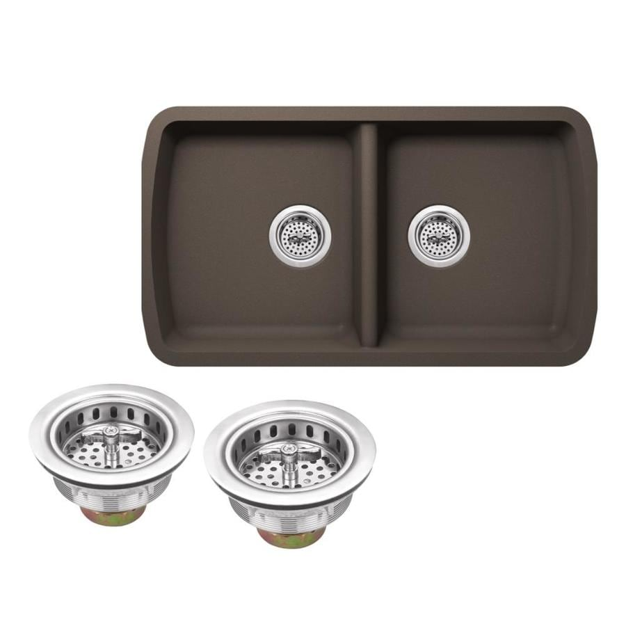 Superior Sinks 33.75-in x 18.94-in Mocha Brown Double-Basin Granite Undermount Residential Kitchen Sink