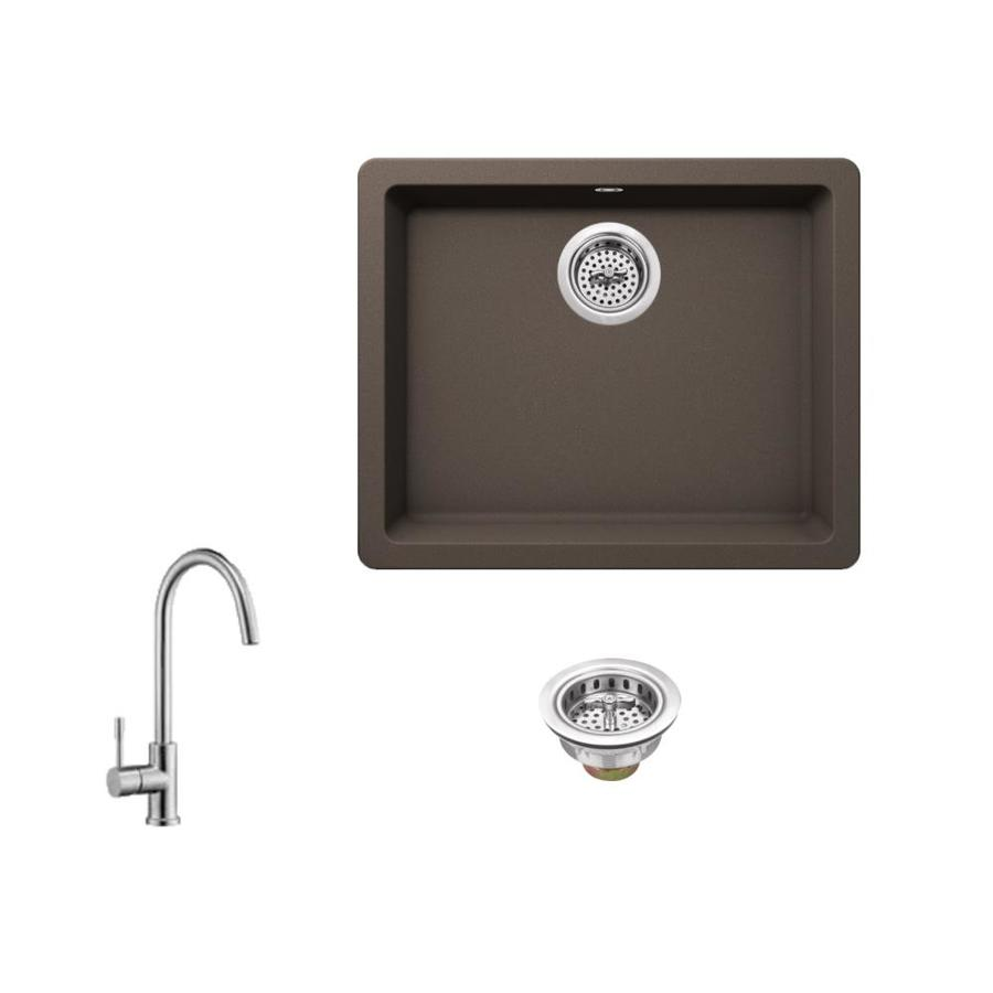 Superior Sinks 21.65-in x 16.92-in Mocha Brown Single-Basin-Basin Granite Drop-in (Customizable)-Hole Residential Kitchen Sink All-In-One Kit