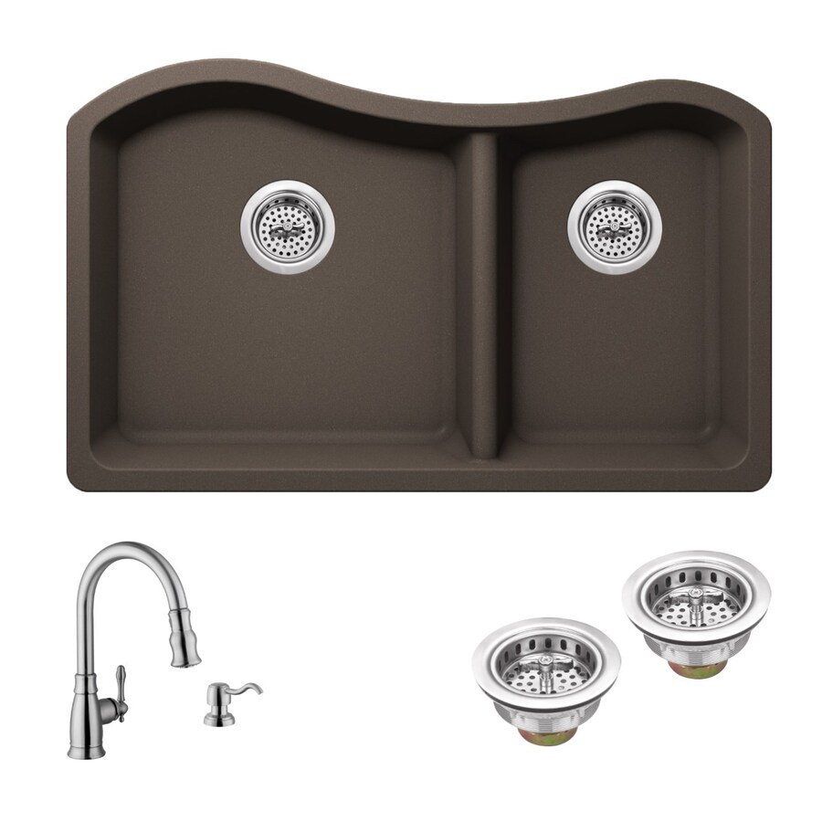 Superior Sinks 32.5-in x 20-in Mocha Brown Double-Basin Granite Undermount Residential Kitchen Sink All-In-One Kit