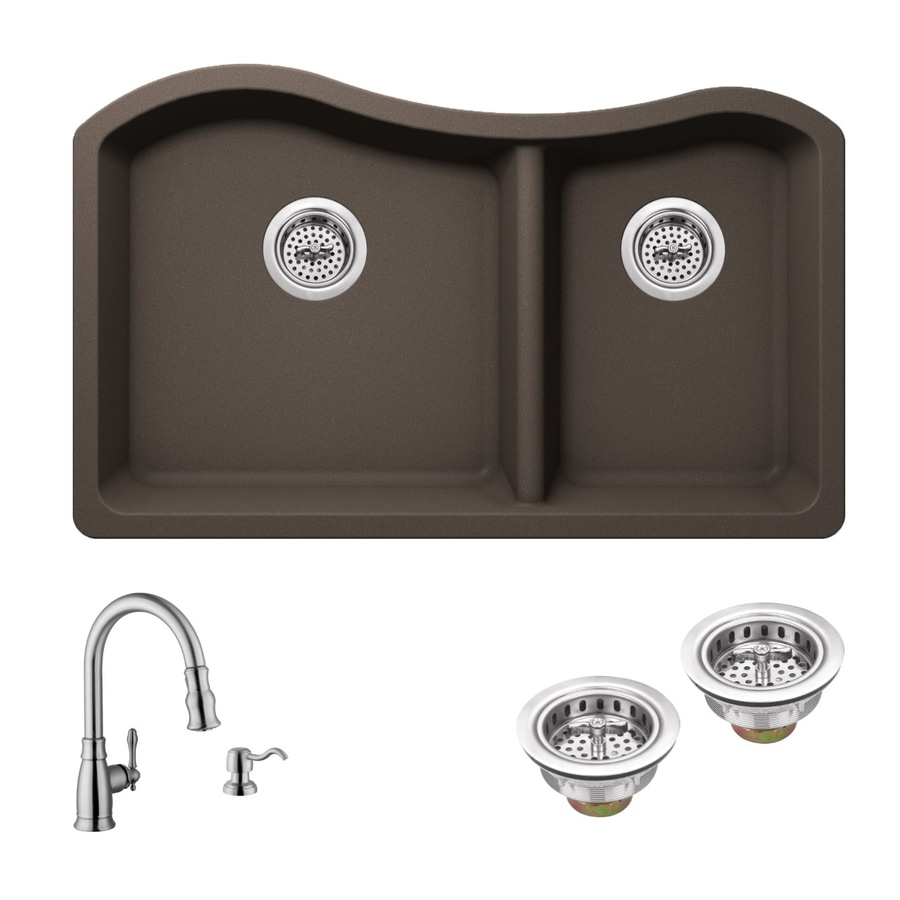 Superior Sinks 32.5-in x 20-in Mocha Brown 2 Granite Undermount (Customizable)-Hole Residential Kitchen Sink All-In-One Kit
