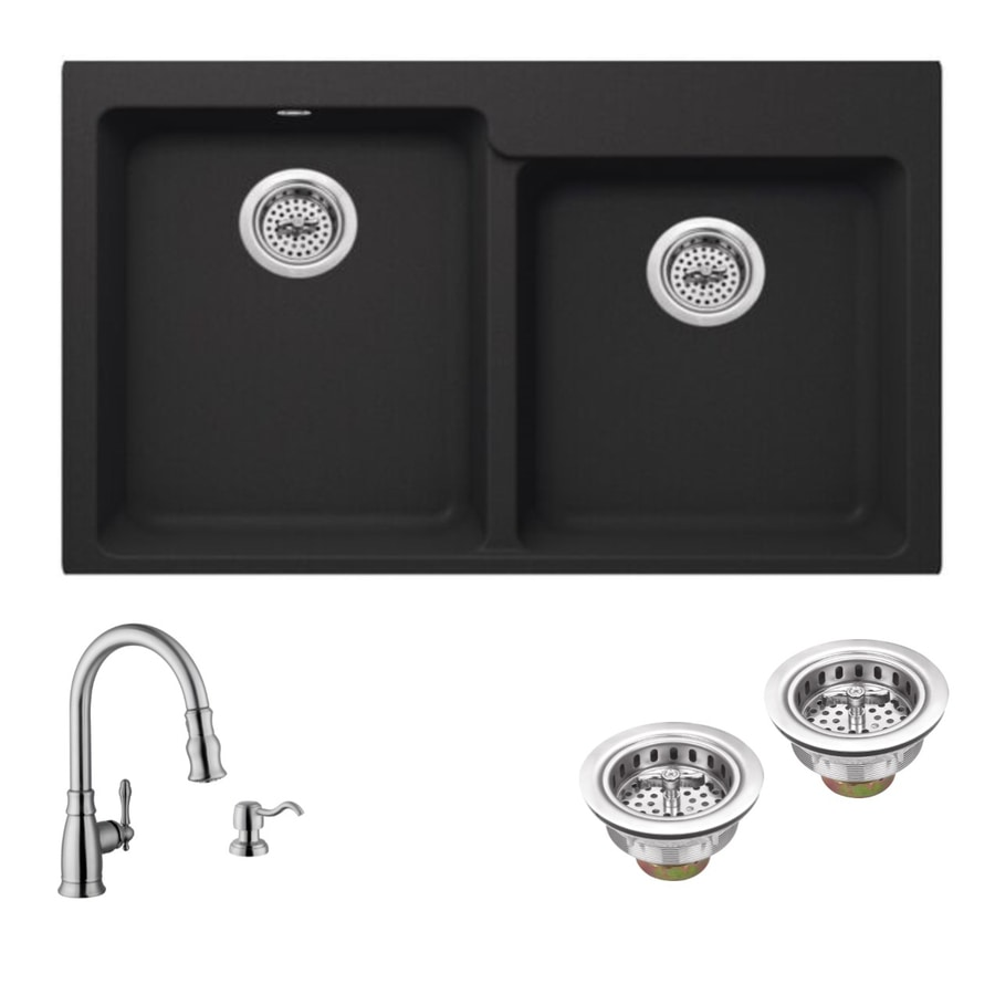 Superior Sinks 33-in x 22-in Onyx Black Double-Basin Granite Drop-in 4-Hole Residential Kitchen Sink All-In-One Kit