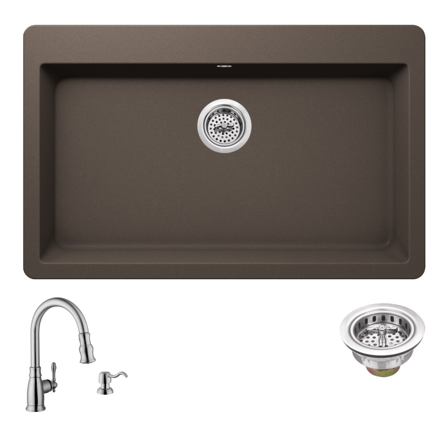 Superior Sinks 33-in x 20.875-in Mocha Brown Single-Basin Granite Drop-in 3-Hole Residential Kitchen Sink All-In-One Kit