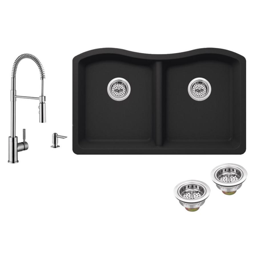 Superior Sinks 32.5-in x 20-in Onyx Black 2 Granite Undermount (Customizable)-Hole Residential Kitchen Sink All-In-One Kit