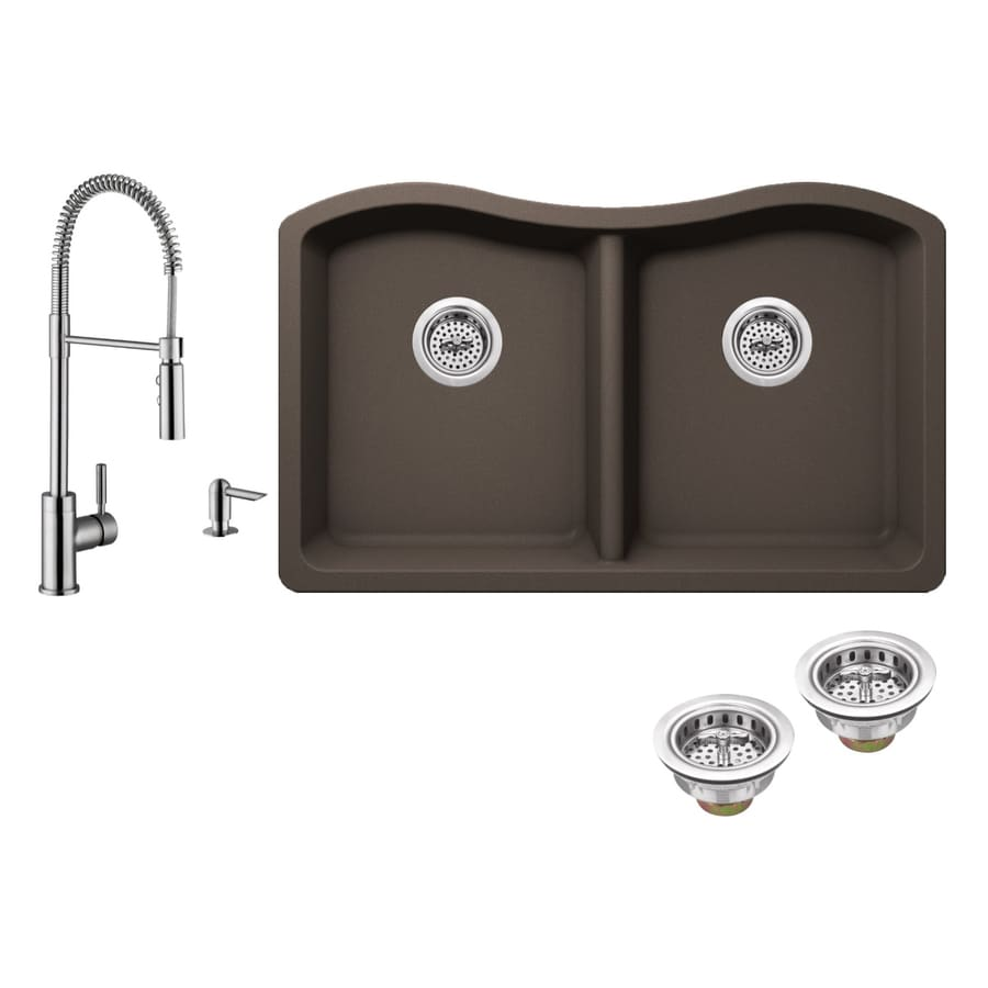 Superior Sinks 32.5-in x 20-in Mocha Brown Single-Basin-Basin Granite Undermount (Customizable)-Hole Residential Kitchen Sink All-In-One Kit