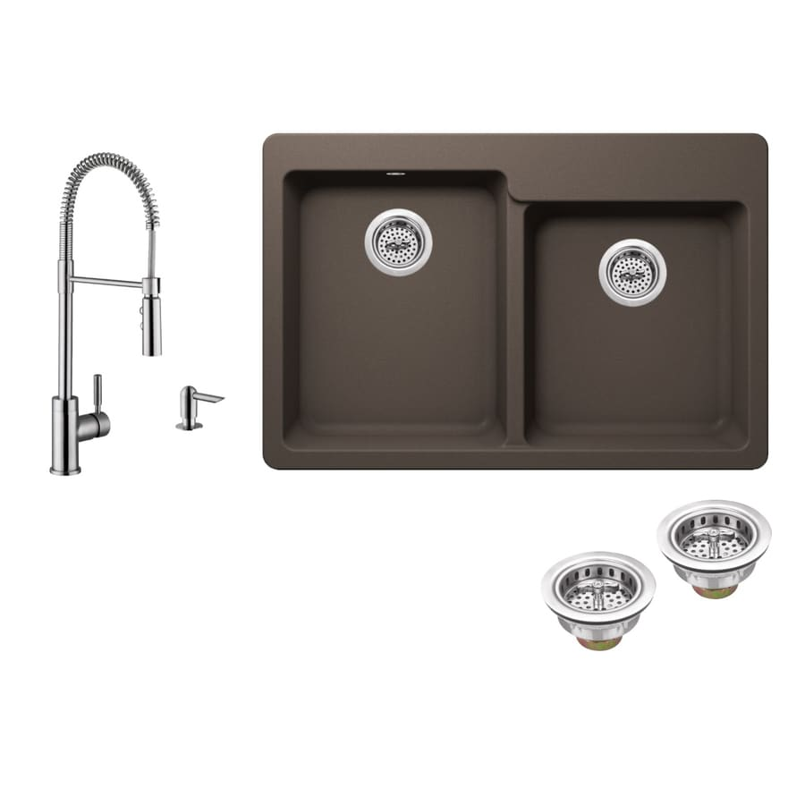 Superior Sinks 33-in x 22-in Mocha Brown Double-Basin Granite Drop-in 4-Hole Residential Kitchen Sink All-In-One Kit