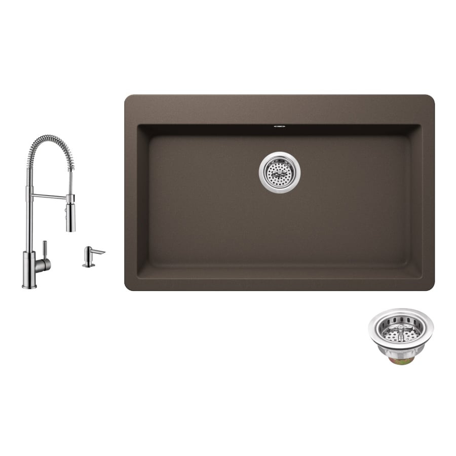 Superior Sinks 33-in x 20.875-in Mocha Brown 1 Granite Drop-in 3-Hole Residential Kitchen Sink All-In-One Kit