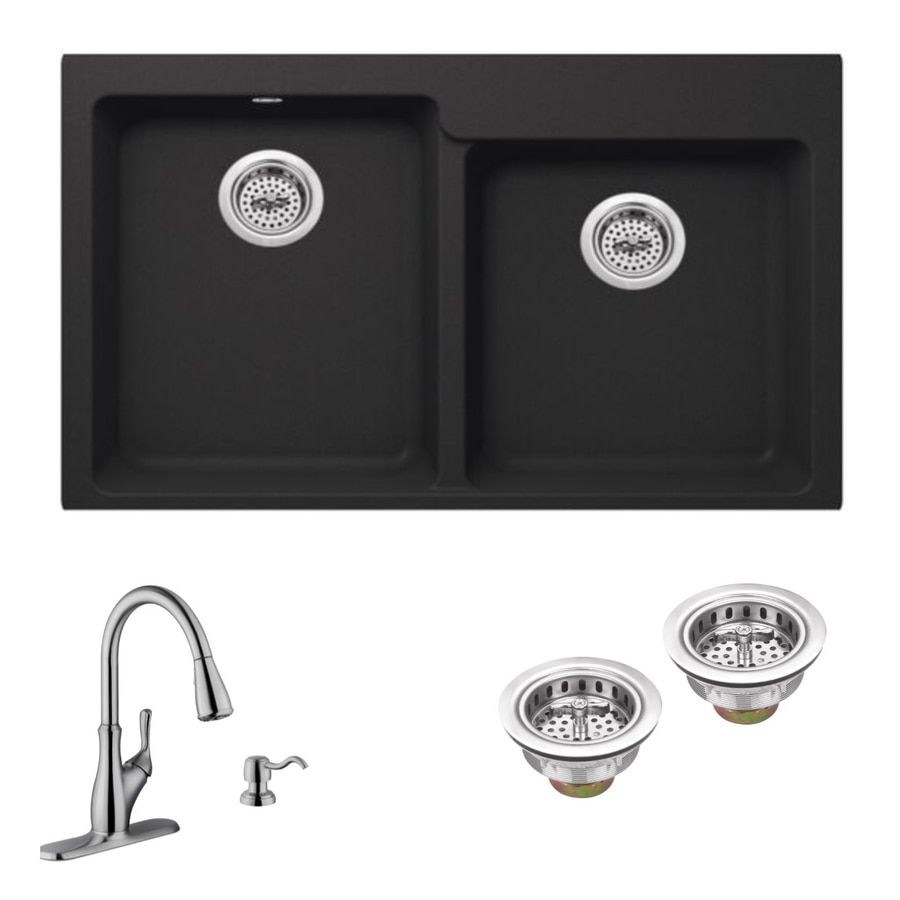 Superior Sinks 33-in x 22-in Onyx Black Single-Basin-Basin Granite Drop-in 4-Hole Residential Kitchen Sink All-In-One Kit