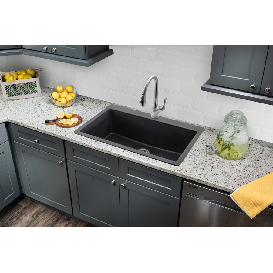 Superior Sinks 33-in x 20.875-in Onyx Black Single-Basin-Basin Granite Drop-in 3-Hole Residential Kitchen Sink All-In-One Kit
