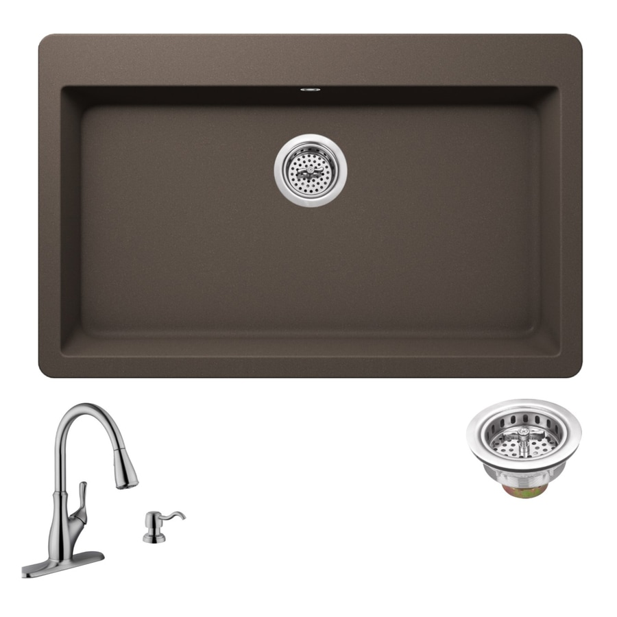 Superior Sinks 33-in x 20.875-in Mocha Brown Single-Basin-Basin Granite Drop-in 3-Hole Residential Kitchen Sink All-In-One Kit