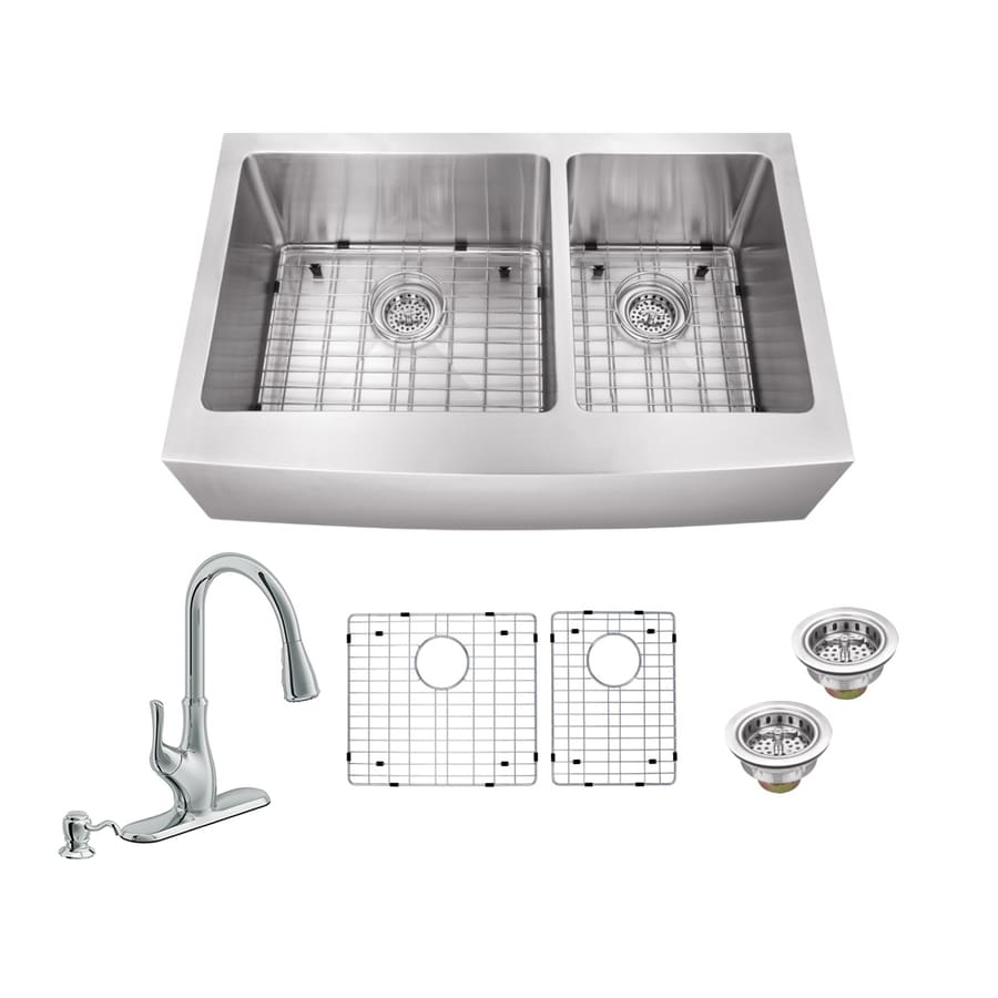 Superior Sinks 35.875-in X 20.75-in Brushed Satin Double