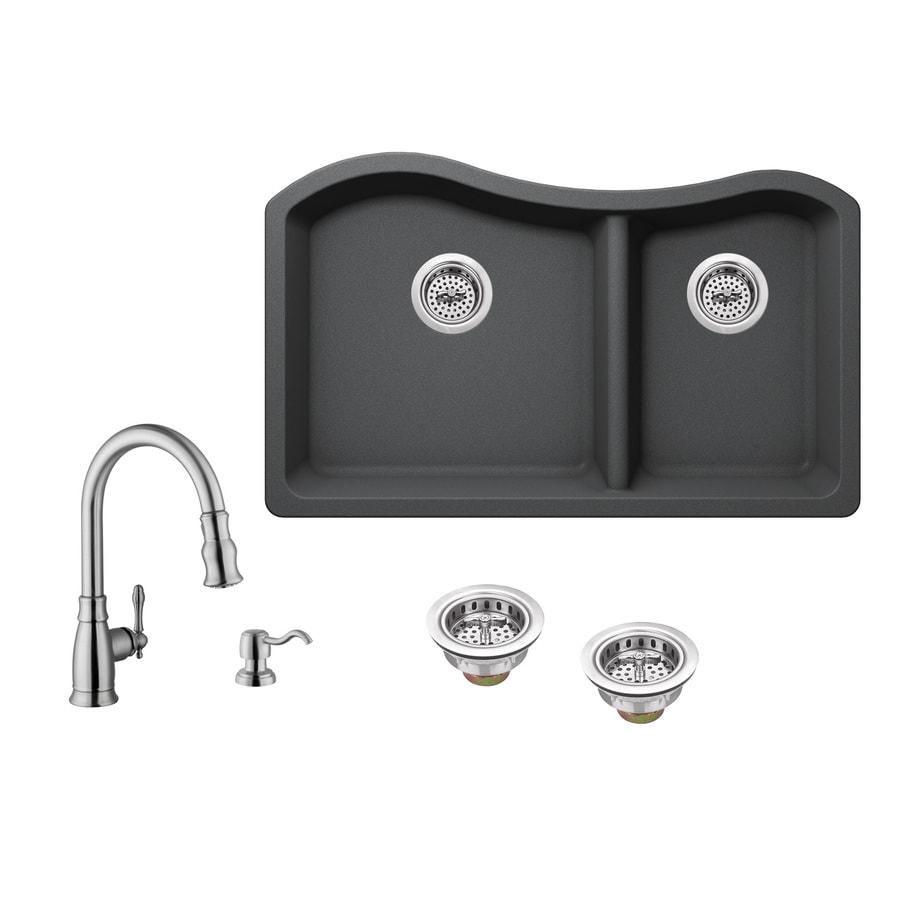 Shop Superior Sinks 32.5-in x 20-in Grey Double-Basin Granite ...