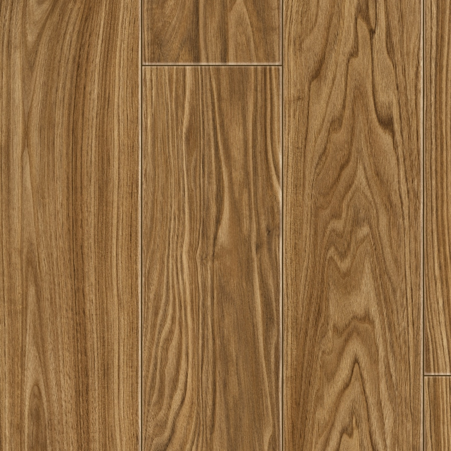 Style Selections 4.96-in W x 4.22-ft L Amber Select Walnut Embossed Wood Plank Laminate Flooring