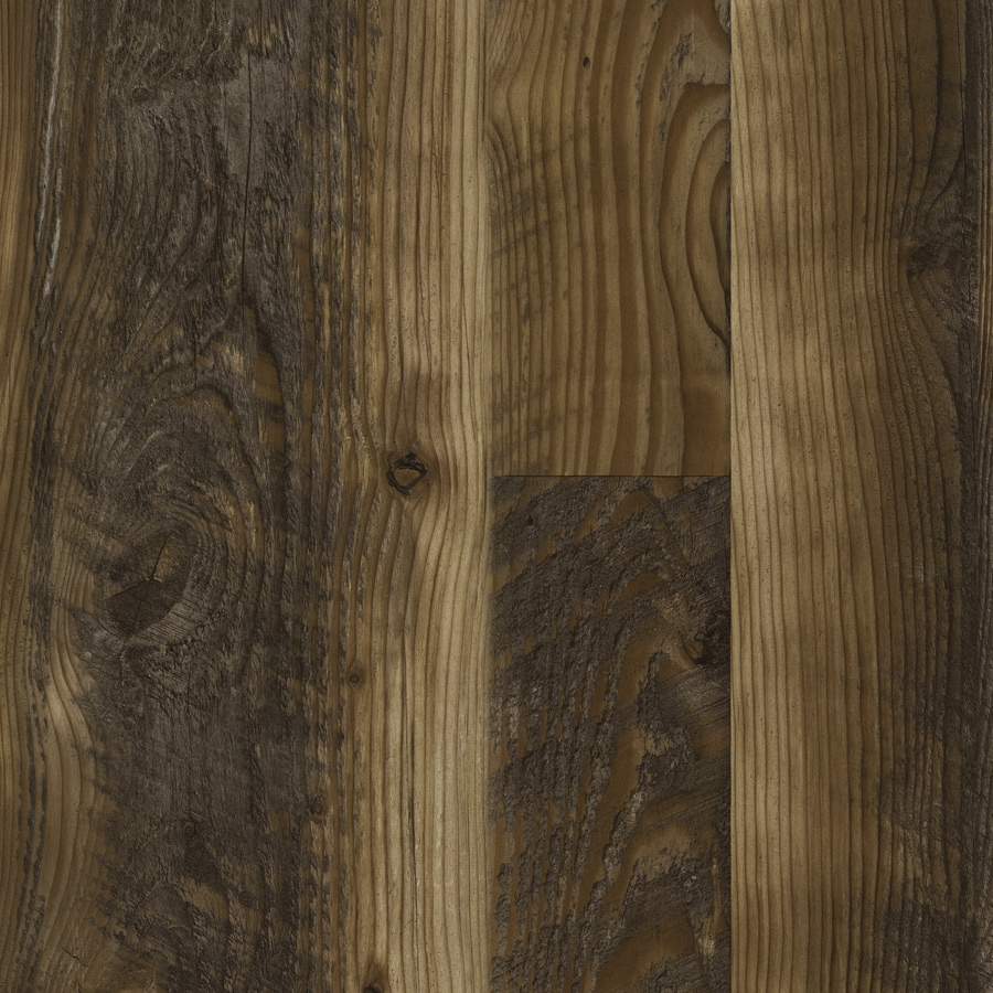 Style Selections 7.59-in W x 4.23-ft L Saddle Pine Smooth Wood Plank Laminate Flooring