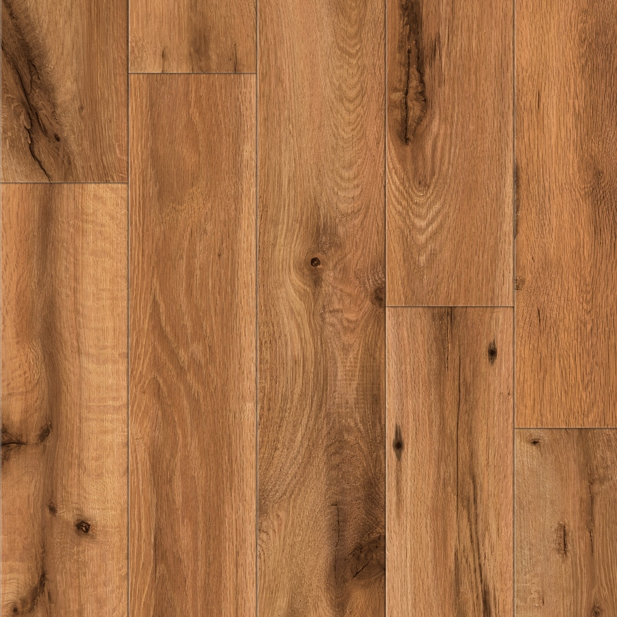 allen + roth 4.96-in W x 4.23-ft L Lodge Oak Handscraped Wood Plank Laminate Flooring