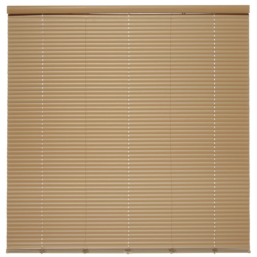 Style Selections 1-in Cordless Taupe Vinyl Room Darkening Mini-Blinds (Common 28.5-in; Actual: 28.5-in x 64-in)