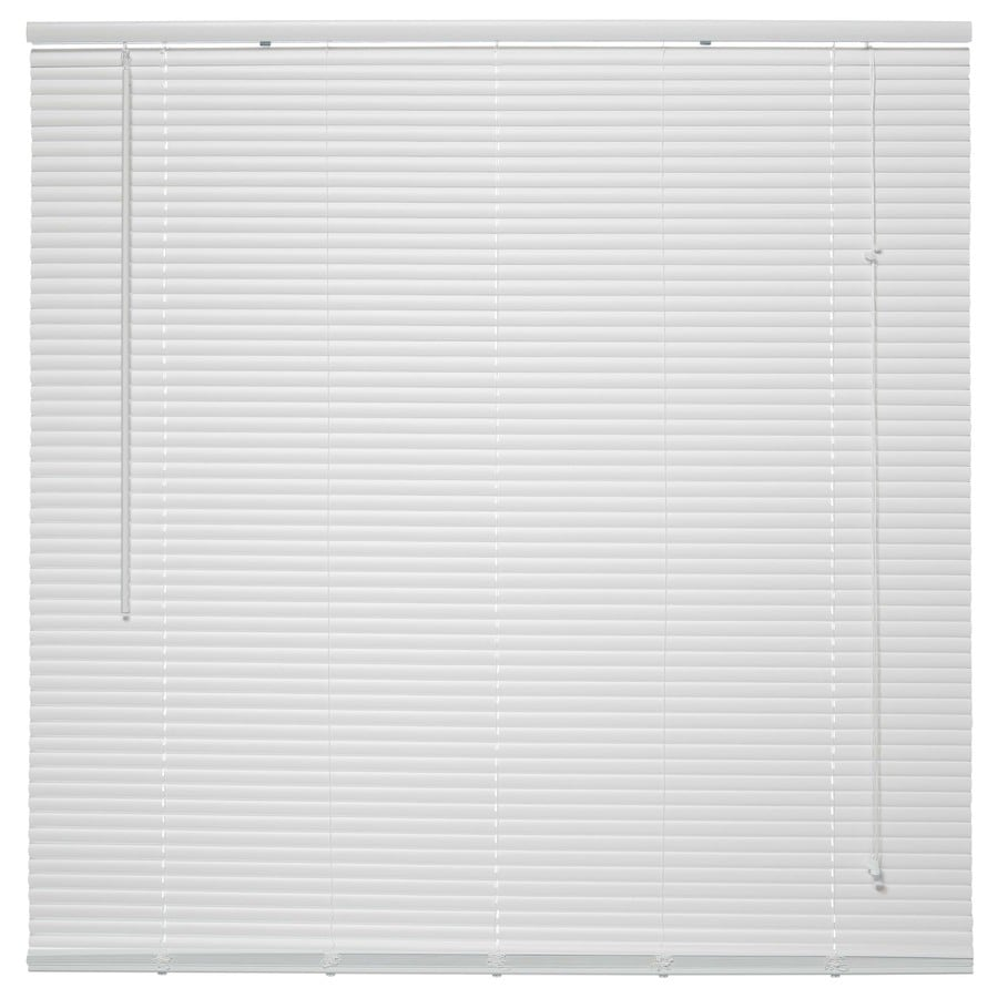Project Source 1-in White Vinyl Room Darkening Mini-Blinds (Common 45.5-in; Actual: 45.5-in x 64-in)