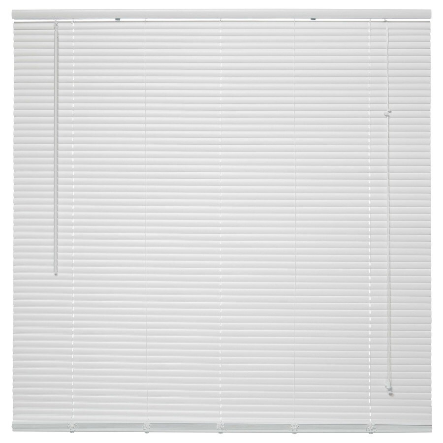 Project Source 1-in White Vinyl Room Darkening Mini-Blinds (Common 64-in; Actual: 64-in x 64-in)