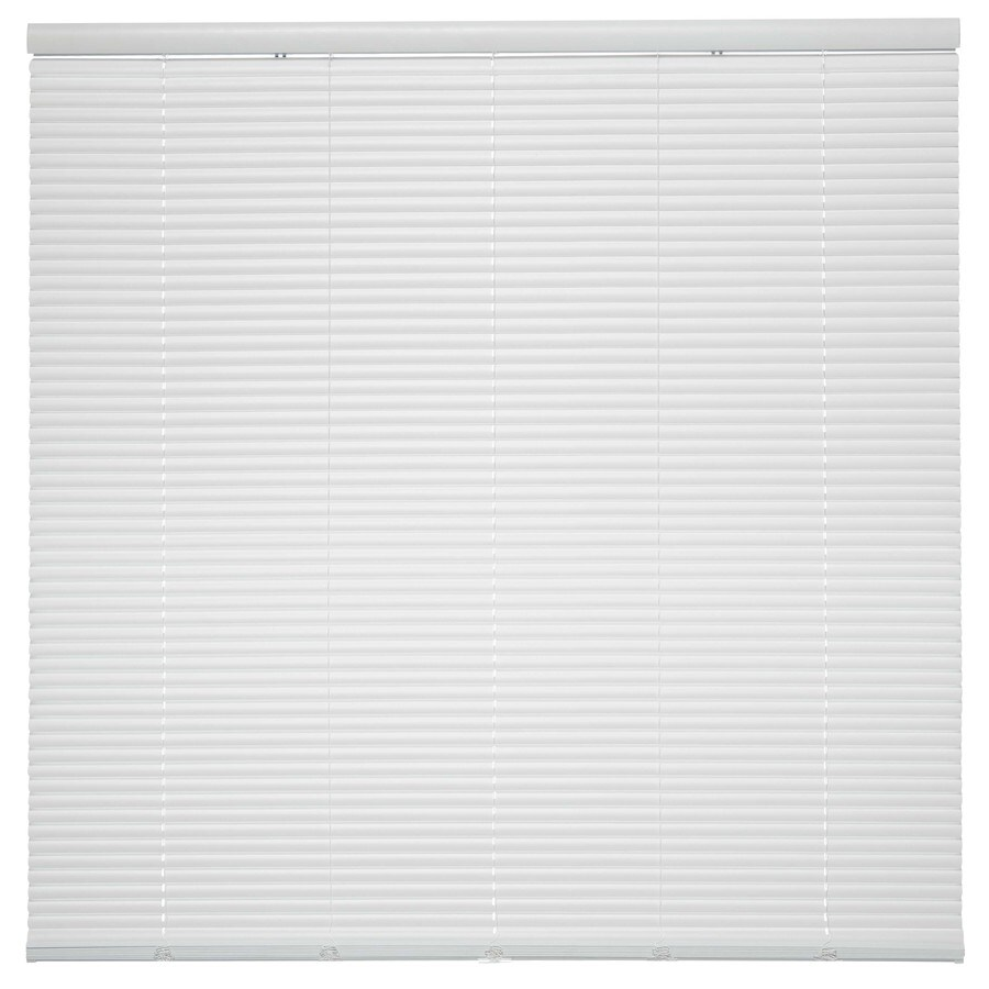 Style Selections 1-in Cordless White Vinyl Room Darkening Mini-Blinds (Common 27.5-in; Actual: 27.5-in x 64-in)