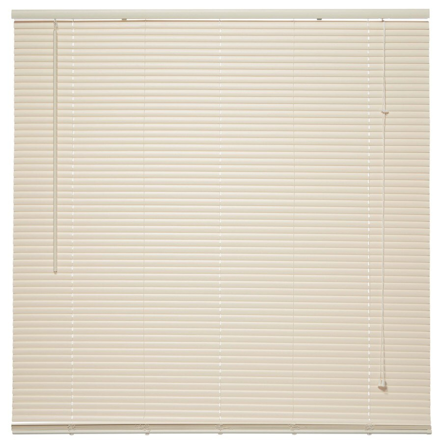 Project Source 1-in Ivory Vinyl Room Darkening Mini-Blinds (Common 27.5-in; Actual: 27.5-in x 64-in)