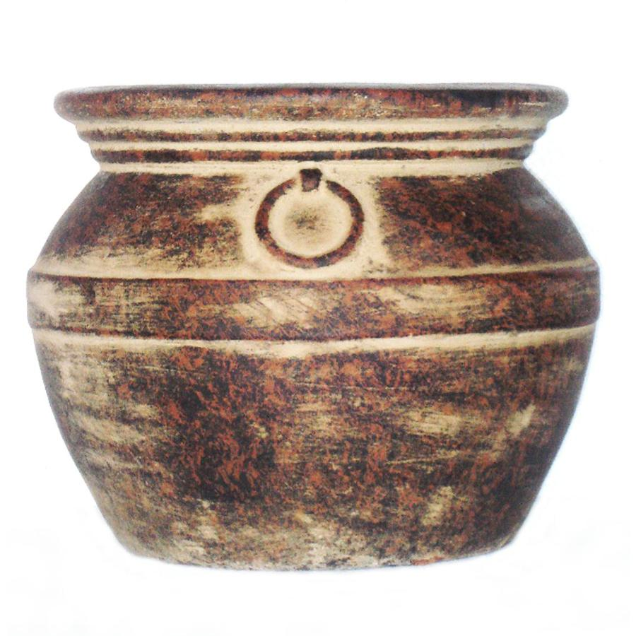 Garden Treasures 15-in H x 19-in W x 19-in D Smoked Brown Clay Planter