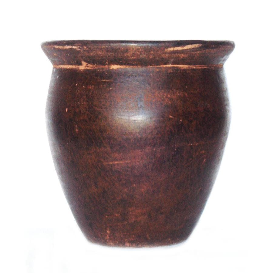 Garden Treasures 15-in H x 19-in W x 19-in D Chocolate Brown Clay Planter