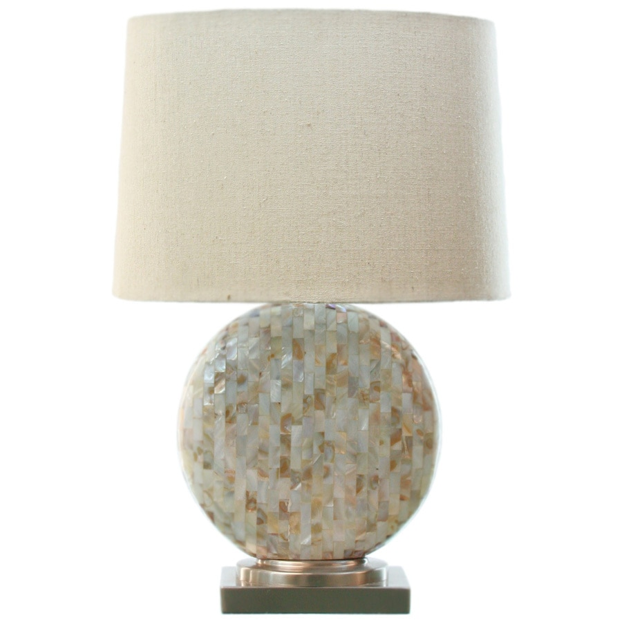 TLC Home 25-in 3-Way Mother Of Pearl Indoor Table Lamp with Fabric Shade