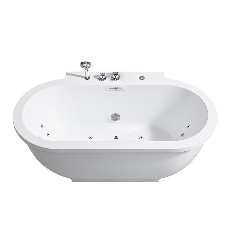 Shop ariel white acrylic freestanding whirlpool for Oval garden tub