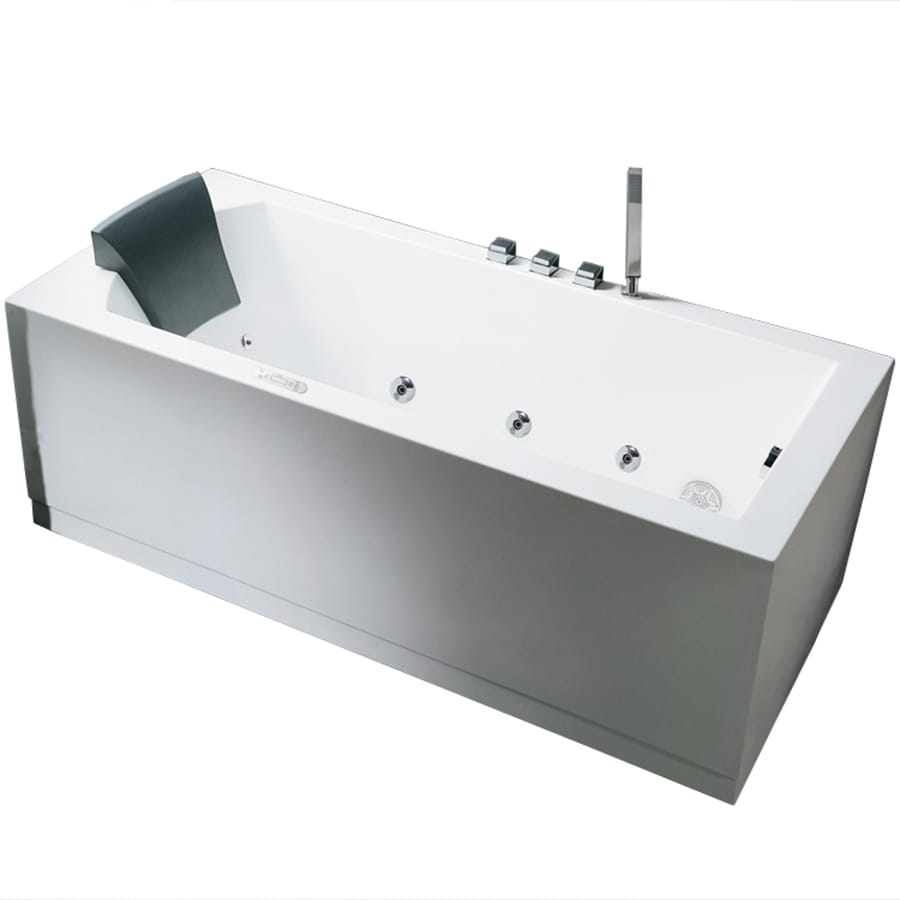 Attirant ARIEL 59 In White Acrylic Freestanding Whirlpool Tub With Right Hand Drain