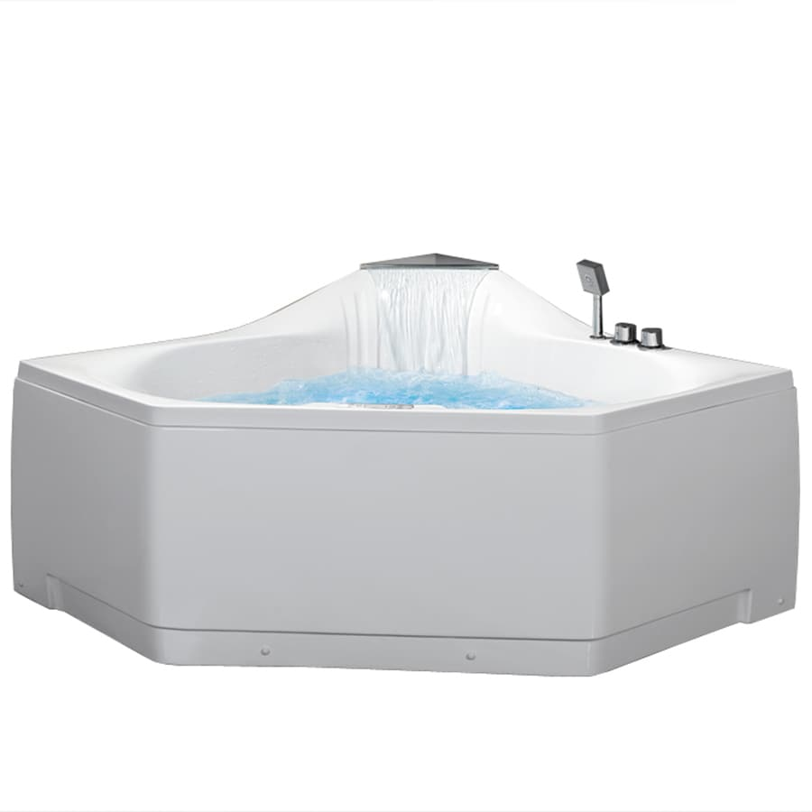 ARIEL 59-in White Acrylic Freestanding Whirlpool Tub with Front Center Drain