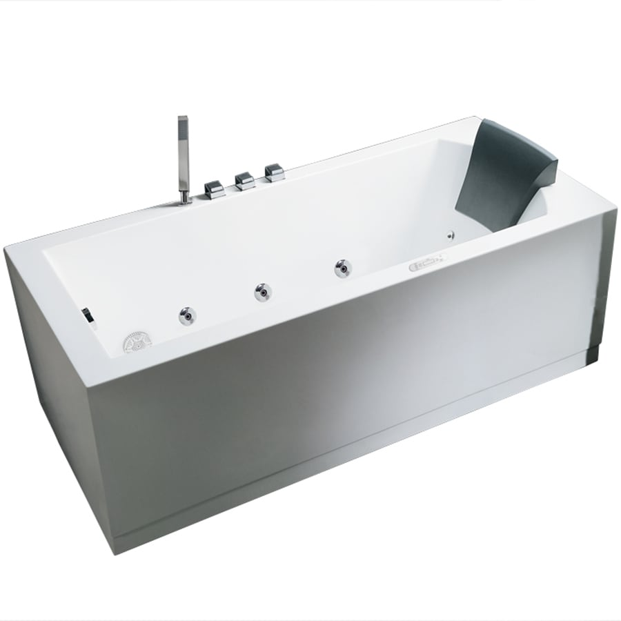 ARIEL 59-in White Acrylic Freestanding Whirlpool Tub with Left-Hand Drain