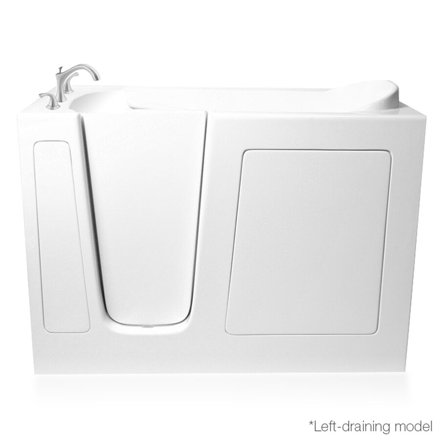 ARIEL 51-in White Gelcoat/Fiberglass Walk-In Whirlpool Tub And Air Bath with Left-Hand Drain