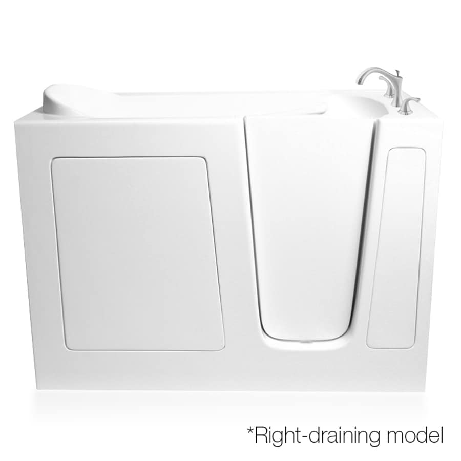 ARIEL 48-in White Gelcoat/Fiberglass Walk-In Whirlpool Tub and Air Bath with Right-Hand Drain
