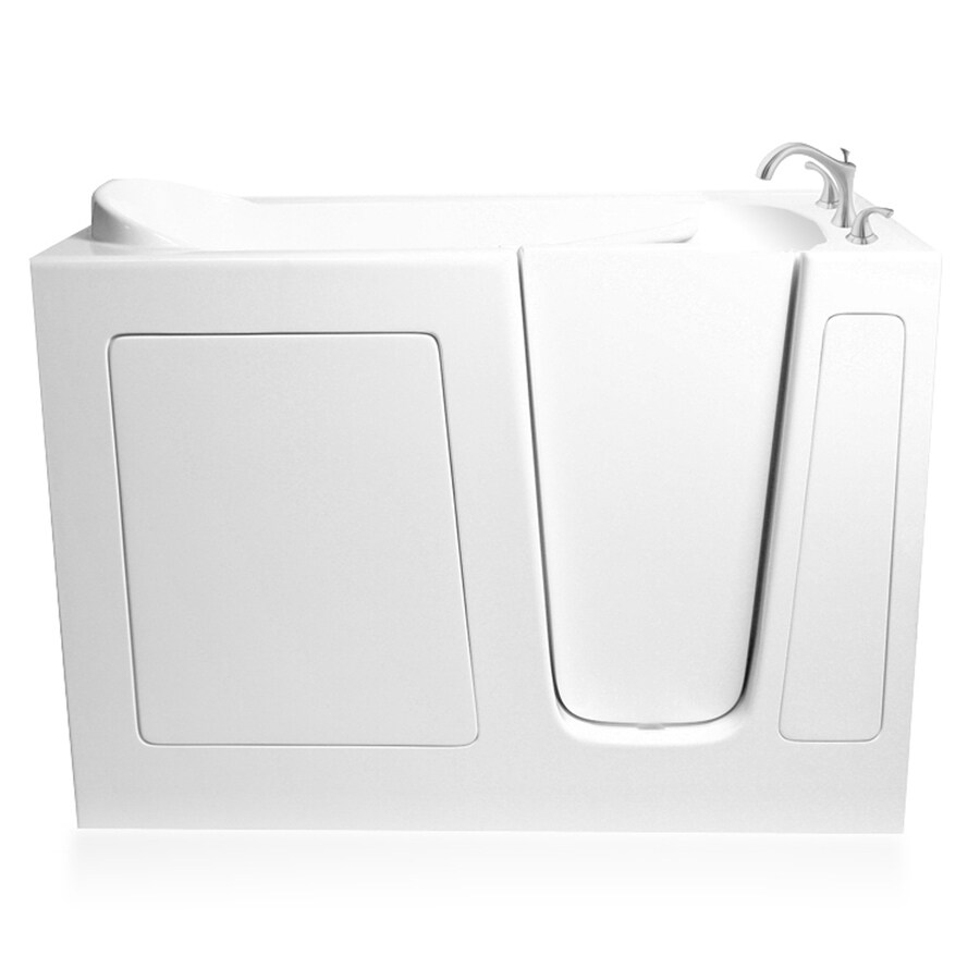 ARIEL 53.5-in L x 29-in W x 38-in H White Gelcoat and Fiberglass Rectangular Walk-in Whirlpool Tub and Air Bath