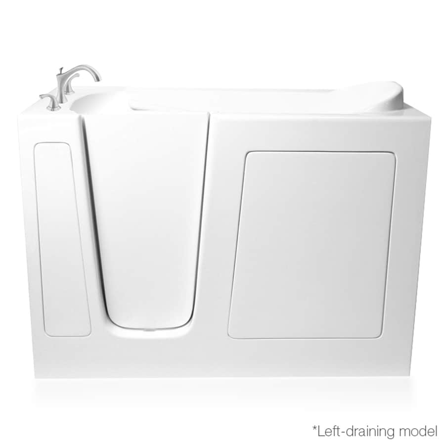 ARIEL White Gelcoat and Fiberglass Rectangular Walk-In Bathtub with Left-Hand Drain (Common: 26-in x 51-in; Actual: 38-in x 26-in x 51-in)