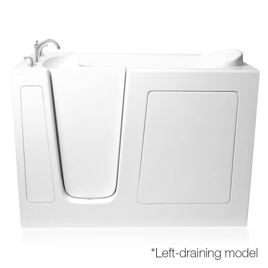 ARIEL White Gelcoat and Fiberglass Rectangular Walk-In Bathtub with Left-Hand Drain (Common: 30-in x 48-in; Actual: 38-in x 29.5-in x 48-in)