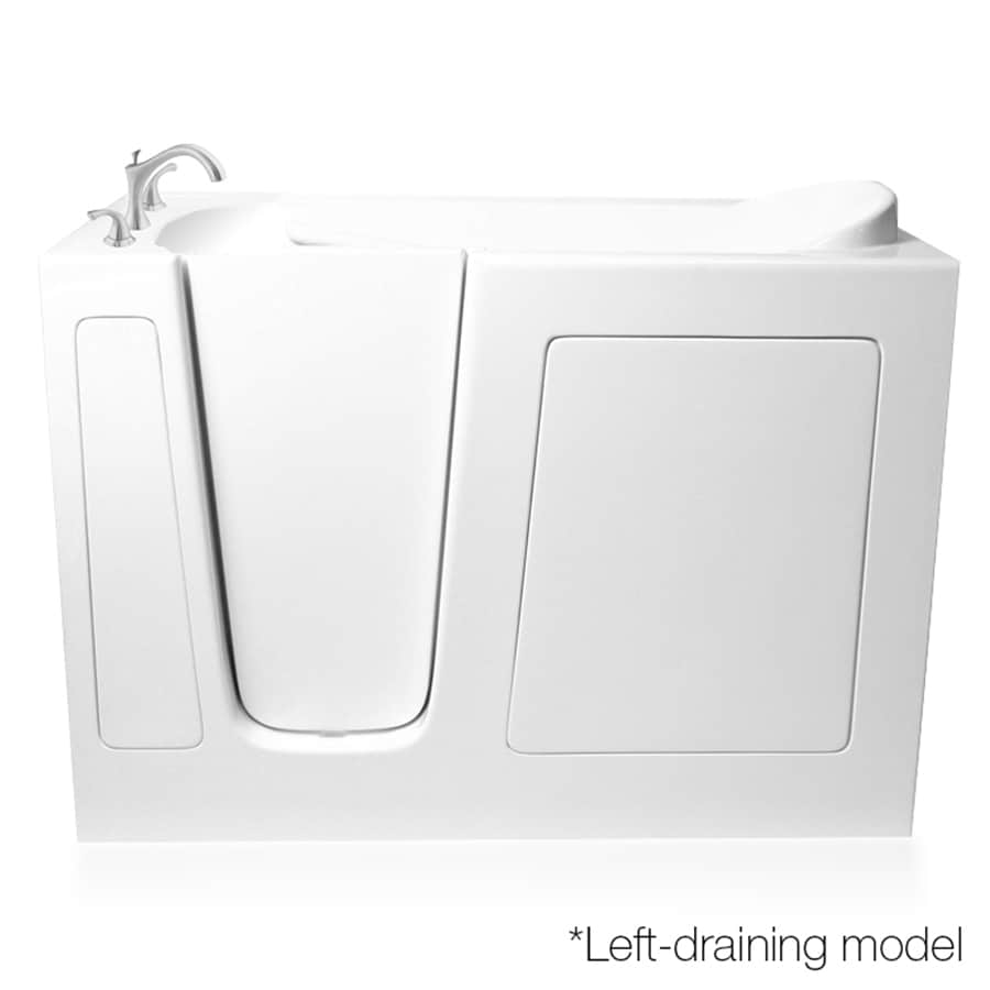 ARIEL White Gelcoat and Fiberglass Rectangular Walk-In Bathtub with Left-Hand Drain (Common: 30-in x 54-in; Actual: 38-in x 29.5-in x 53.5-in)