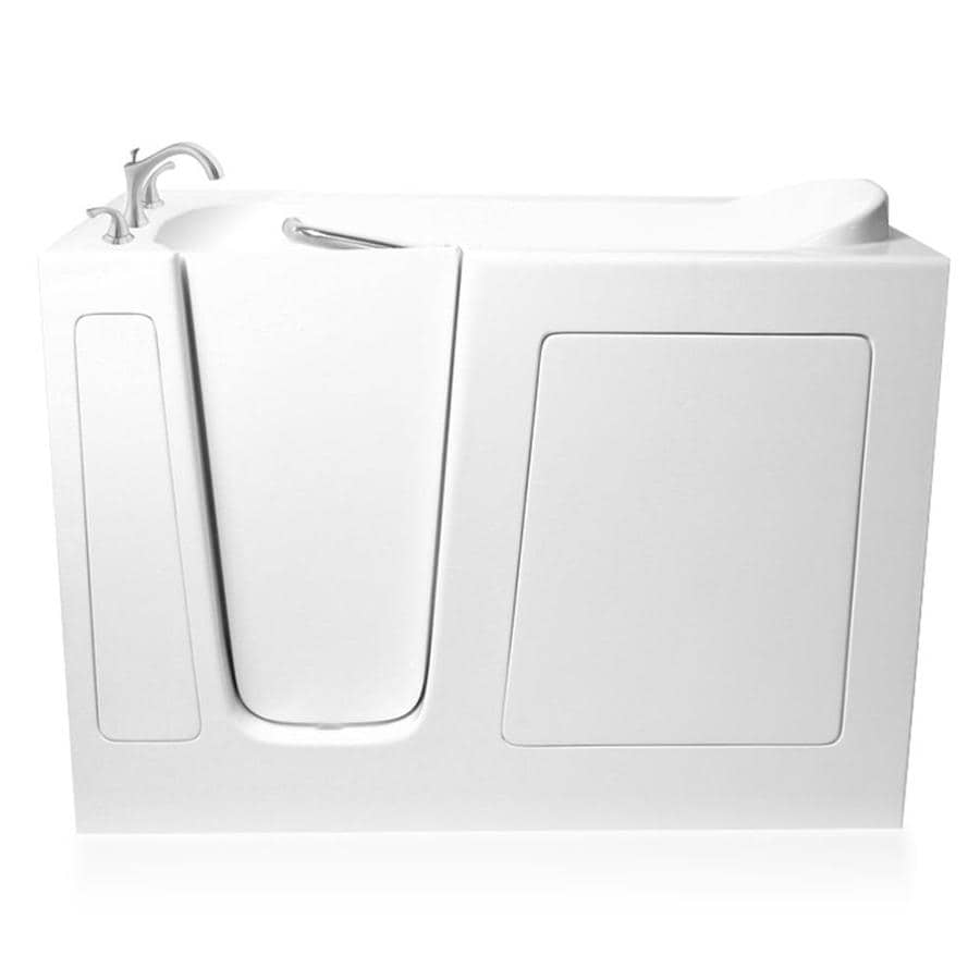 ARIEL White Gelcoat and Fiberglass Rectangular Walk-In Bathtub with Left-Hand Drain (Common: 30-in x 60-in; Actual: 38-in x 29.75-in x 59.5-in)