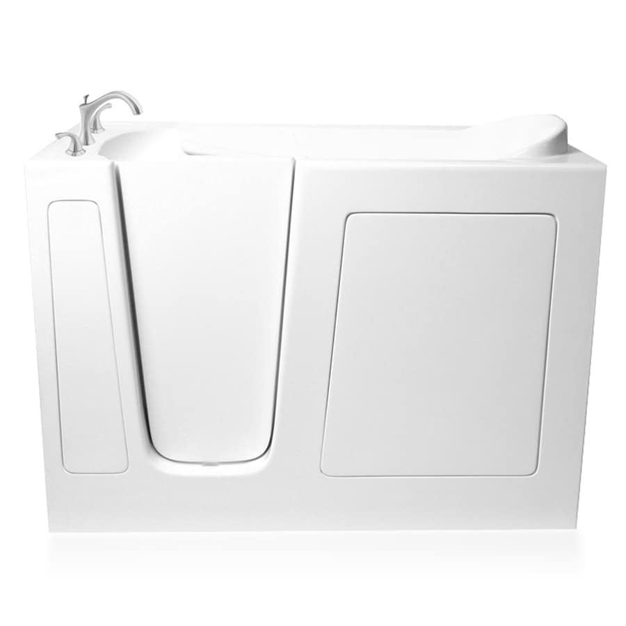 ARIEL 51.5-in L x 29.75-in W x 40-in H White Gelcoat and Fiberglass Rectangular Walk-in Whirlpool Tub and Air Bath