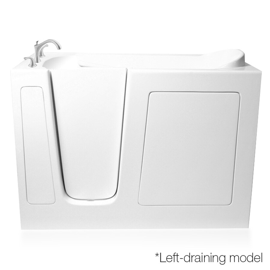 ARIEL White Gelcoat and Fiberglass Rectangular Walk-In Bathtub with Left-Hand Drain (Common: 29-in x 52-in; Actual: 38-in x 29.75-in x 51.5-in)