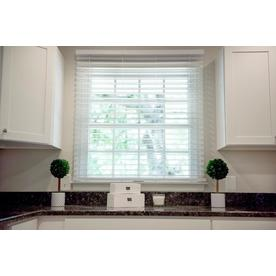 plastic window blinds living room wave contour 2in cordless soft white faux wood blinds common 35 at lowescom