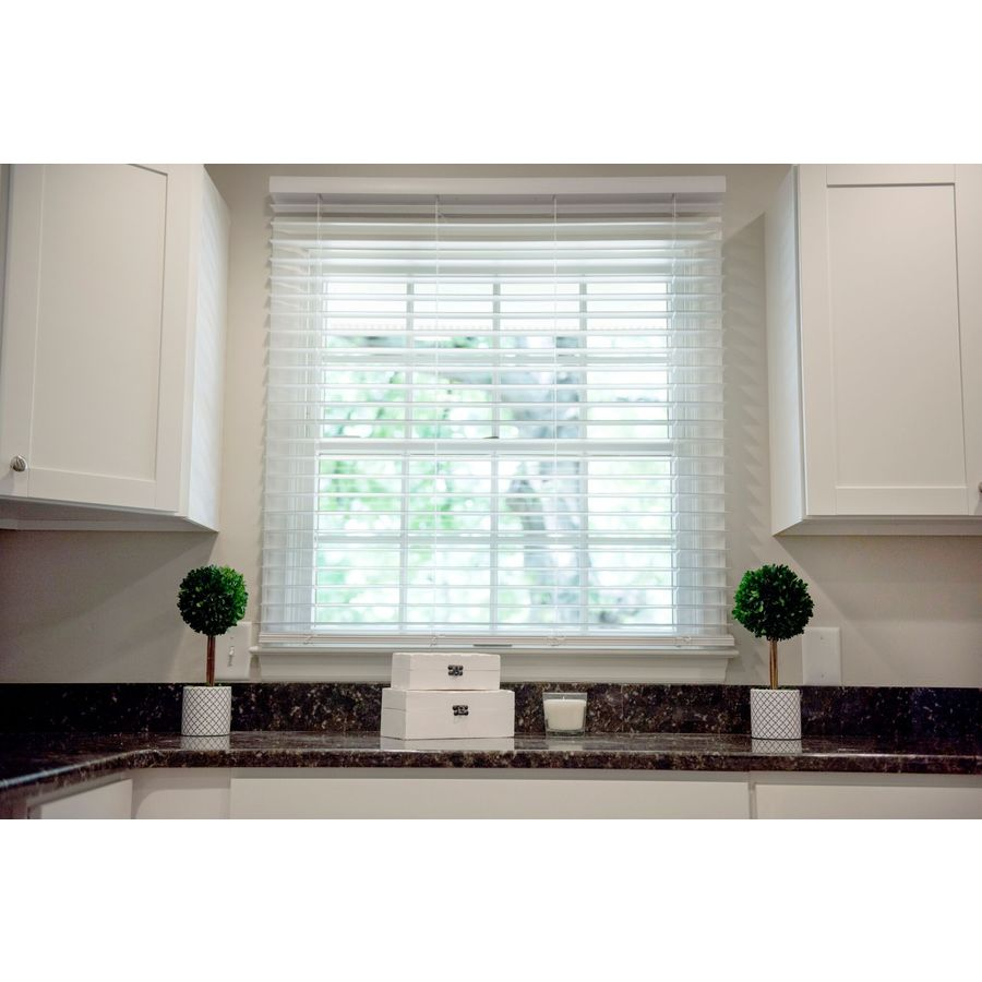Safe-T-Shade 2-in Cordless Soft White Faux Wood Room Darkening Plantation Blinds (Common: 21.5-in; Actual: 21.5-in x 48-in)