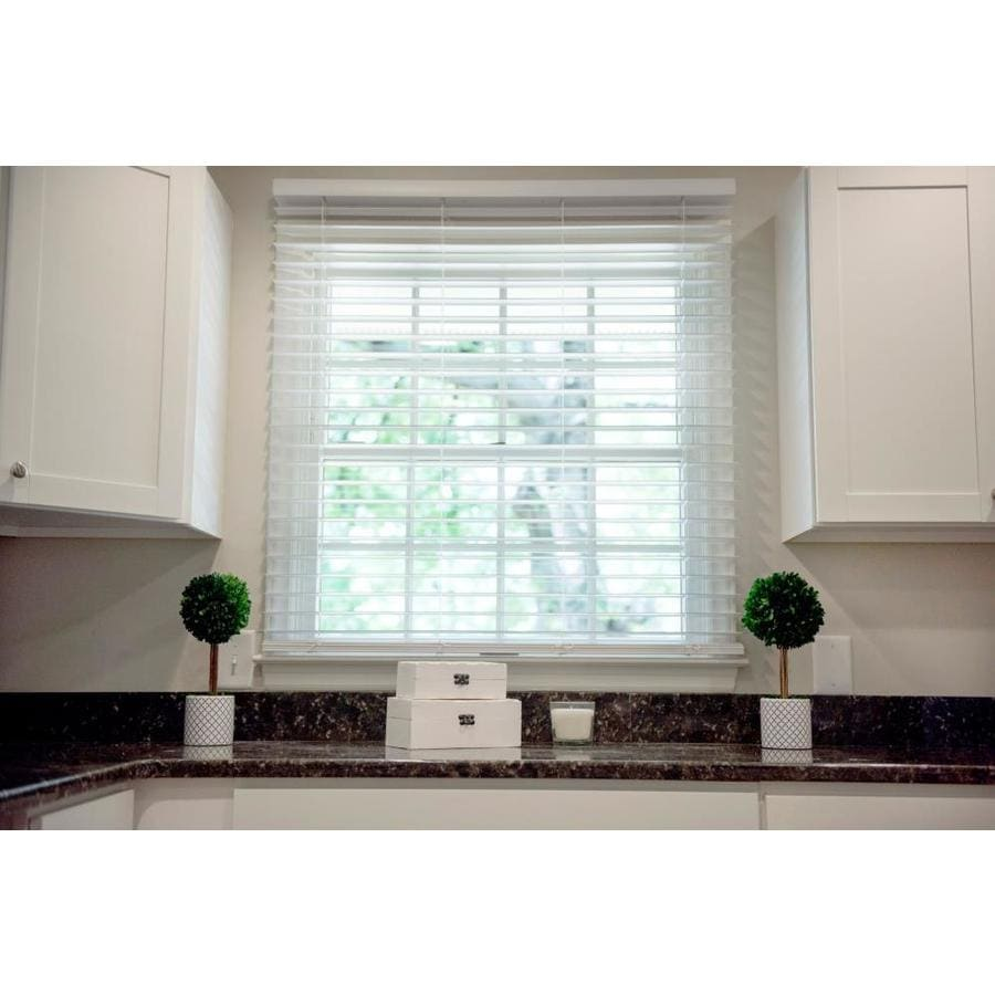 Safe-T-Shade 2-in Cordless Soft White Faux Wood Room Darkening Plantation Blinds (Common: 66.5-in; Actual: 66.5-in x 48-in)
