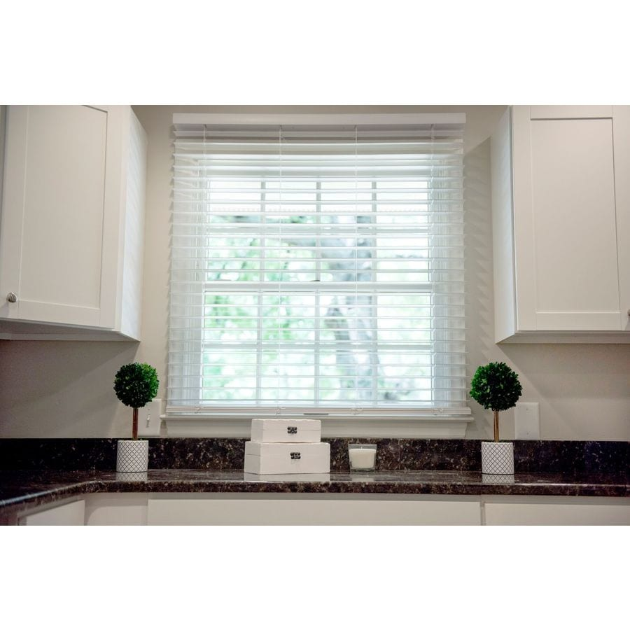 Safe-T-Shade 2-in Cordless Soft White Faux Wood Room Darkening Plantation Blinds (Common: 55.5-in; Actual: 55.5-in x 64-in)